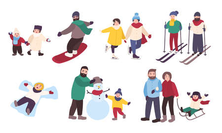 youngster: Set of winter games. Different people entertainment in winter sports. Friends, couples with children skate, ski, snowboard, make snowman. Colorful vector illustration in cartoon style. Stock Photo