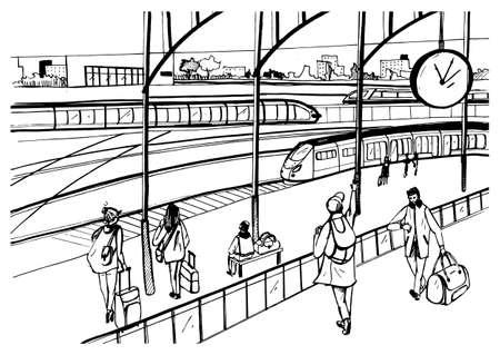 Algemeen beeld van het spoorwegplatform met treinen en passagiers.