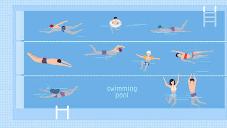 Horizontal illustration with swimmers in swimming pool. Illustration