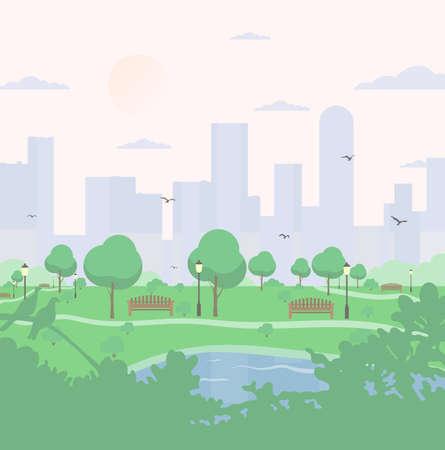 City park su sfondo alto edificio. paesaggio con alberi, cespugli, lago, uccelli, lanterne e panchine. Illustrazione quadrata vettoriale colorato in stile cartoon piatto.