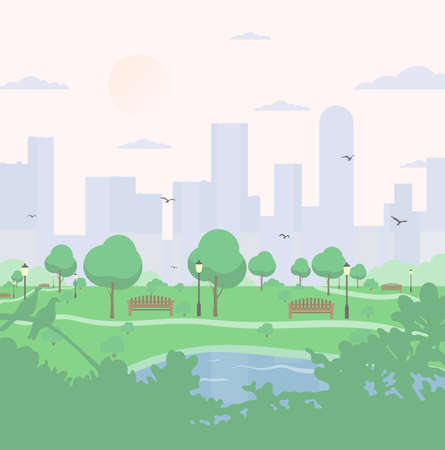 City park on high-rise buildings background. landscape with trees, bushes, lake, birds, lanterns and benches. Colorful vector square illustration in flat cartoon style.