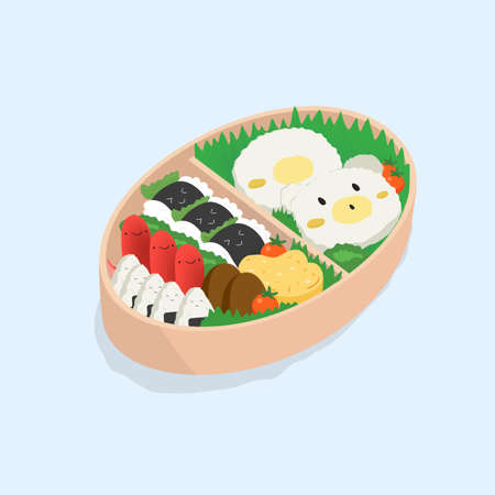 Japanese lunch box, bento. Funny cartoon food. Isometric colorful vector illustration on blue background. Stock Vector - 80120867