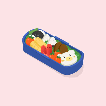 Japanese lunch box, bento. Funny cartoon food. Isometric colorful vector illustration on pink background.