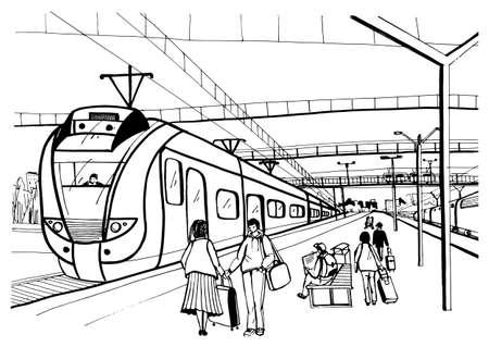 Croquis horizontal monochrome avec des personnes, des passagers en attente d'un train électrique suburbain d'arrivée.
