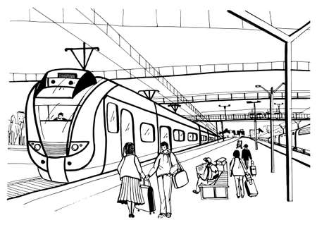 Monochrome horizontal sketch with people, passengers waiting arrival suburban electric train.