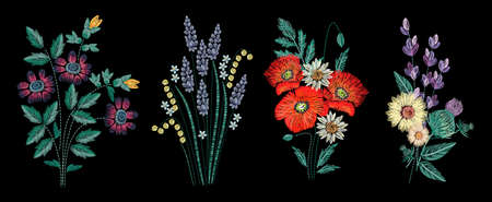 Set of embroidery bouquet on black background. Different flower compositions, wildflowers. Folk line trendy pattern for clothes, dress, decor. Colorful satin stitch floral design. Stock fotó - 80227271