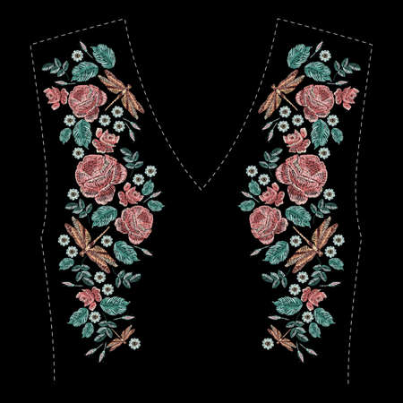 Satin stitch embroidery floral design on black background.