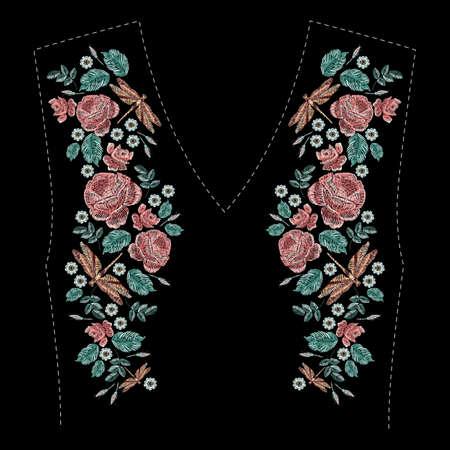 Satin stitch embroidery floral design on black background. Illustration