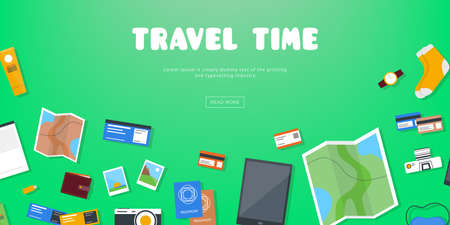 Travel time. Horizontal advertising banner on theme travel, vacation. Preparing for journey. Green backdrop with things necessary traveler. Top view. Colorful vector background in flat style. Illustration
