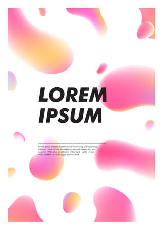 Vertical abstract background with liquid bright plasma drops. Cover template with colorful fluid shapes. Vector poster with place for text.