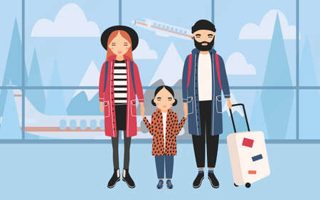 Family at airport. Trendy young couple with baby and luggage. Horizontal banner with mountains and airplane on background. Colorful vector illustration in cartoon style.