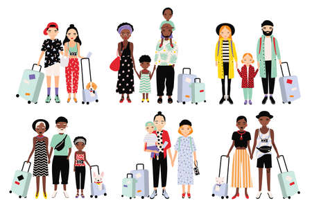 parenthood: Set of traveling families and couples. Different fashionable people with luggage, children. Colorful vector collection in cartoon style. Illustration