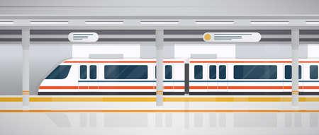 Metro, ondergronds platform met moderne trein. Horizontale kleurrijke vectorillustratie in vlakke stijl.