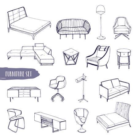 Ensemble de divers meubles. Dessinés à la main différents types de canapés, chaises et fauteuils, tables de chevet, lits, tables, collection de lampes. Illustration de croquis de vecteur noir et blanc. Banque d'images - 80632189