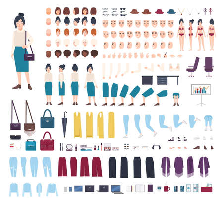 Business woman character constructor. Girl clerk creation set. Different postures, hairstyle, face, legs, hands, clothes collection. vector cartoon illustration. front, side, back view.