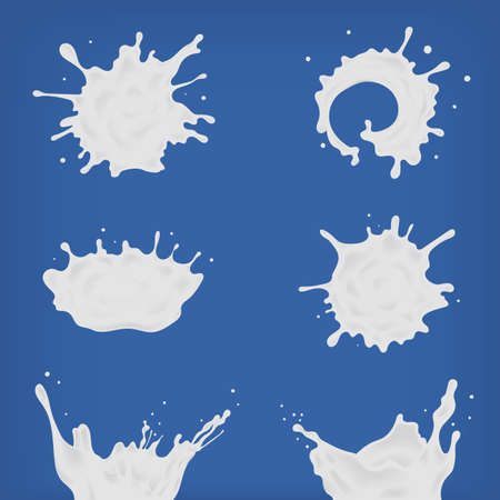 Set of different realistic milk splash and pouring. White spots, drops of various shapes collection. Vector illustration on blue background.