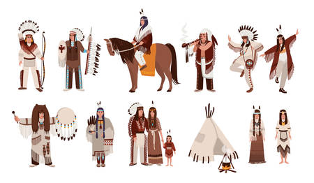 Set of Indians in traditional costumes. Native american family, girl, shaman, people with a bow and arrows, peace-pipe, a spear, on a horse. Colorful vector illustration in cartoon style. Vettoriali