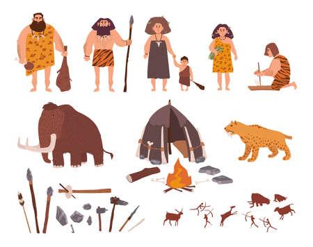 Set van stenen tijdperk thema. Primitieve mensen, kinderen, mammoeten, huizen, jacht- en werkgereedschappen, sabeltandtijger, vuur, rotstekeningen. Kleurrijke vectorinzameling in beeldverhaalstijl.