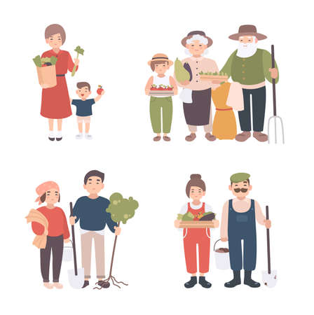 Set of village people. Different young, adult, old farmers and kids together. Happy grandparents, man and woman with seedlings, crops, tools. Colorful vector illustration in cartoon style.