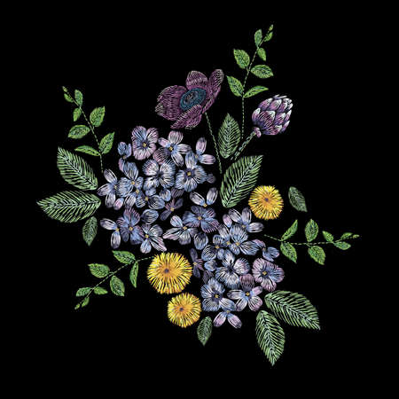 Embroidered composition with branch of lilac, flowers and leaves. Satin stitch embroidery floral design on black background. Folk line trendy pattern for clothes, dress, fabric, decor