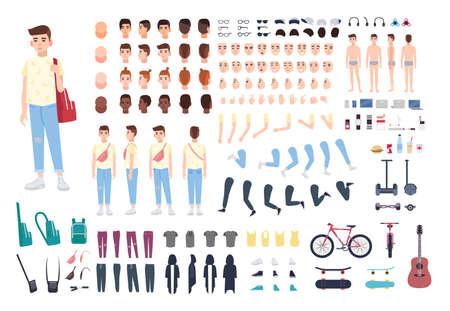 Constructor de personaje adolescente. Conjunto de creación de niños. Ilustración de dibujos animados de vector. Vista frontal, lateral y posterior. Ilustración de vector