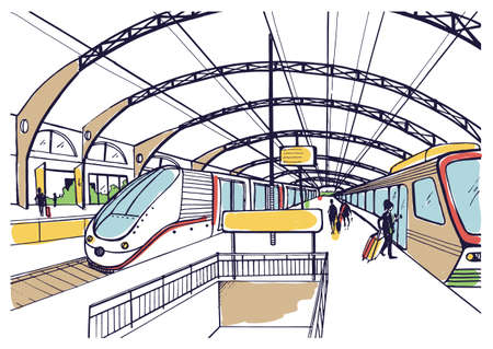 Colorful sketch with railway station. Hand drawn illustration with modern fast trains and passengers.