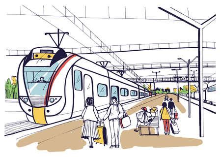 Abbozzo orizzontale variopinto con la gente, passeggeri che aspettano treno suburbano di arrivo di arrivo. Illustrazione vettoriale disegnato a mano