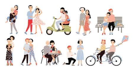 socializando: Conjunto de pareja en el amor. Diferentes situaciones románticas caminar, hablar, andar en bicicleta, abrazar, propuesta de matrimonio, bailar, montar un ciclomotor. Ilustración vectorial de colores en estilo de dibujos animados.