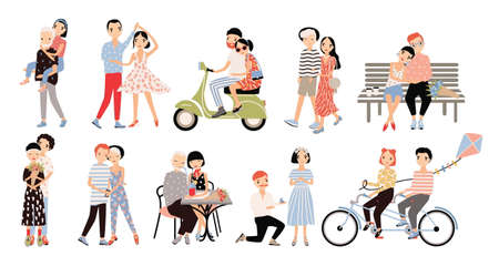 Set of couple in love. Different romantic situations walking, speaking, cycling, hugging, marriage proposal, dance, ride a moped. Colorful vector illustration in cartoon style.