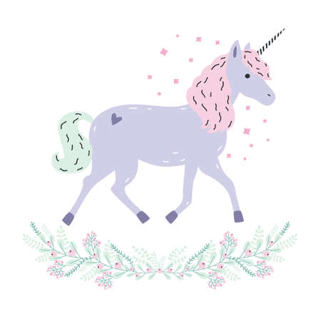 Cute unicorn full-length and floral garland. Purple fantasy animal with horn, pink mane. Side view. Colorful vector illustration in cartoon style.