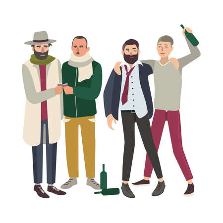 Company of drunk people with bottles. Young and adult untidy man drinking together. Colorful vector illustration in cartoon style.