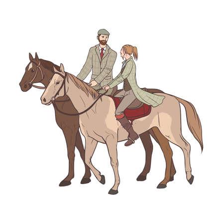 uomo a cavallo: Ciclismo a cavallo. Amatore ragazzo e ragazza sui cavalli in tuta di tweed. Illustrazione vettoriale colorata disegnata a mano. Vettoriali