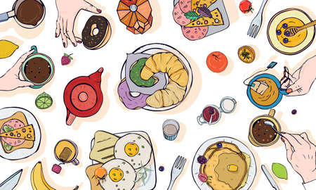 Horizontal advertising illustration on breakfast theme. Colorful vector hand drawn table with drink, pancakes, sandwiches, eggs, croissants and fruits. Top view.