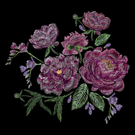 Embroidered composition with peonies, wild and garden flowers, buds and leaves. Satin stitch embroidery, floral design on black background. Folk line trendy pattern for clothes, dress, fabric, decor.