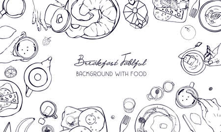 Horizontal advertising banner on breakfast theme. Backdrop with drink, pancakes, sandwiches, eggs, croissants and fruits. Top view. black and white vector hand drawn background with place for text.