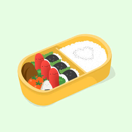 かわいいお弁当。和食のランチ ボックス。面白い漫画食品。等尺性のカラフルなベクター イラストです。  イラスト・ベクター素材