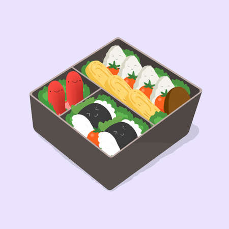 ute bento. Japanese lunch box. Funny cartoon food. Isometric colorful vector illustration. 向量圖像