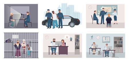 Différentes situations dans le poste de police. Ensemble coloré avec arrestation, interrogatoire, identité, réunion, enquête. Collection d'illustration vectorielle plate Vecteurs