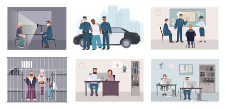 Different situations in police station. Colorful set featuring police work arrest, interrogation, identikit, meeting, investigation. Flat illustration vector collection Çizim