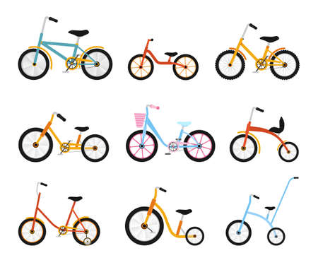 girlish: Various kids bikes collection. Colorful bicycles with different frame types. Vector flat illustration set. Illustration