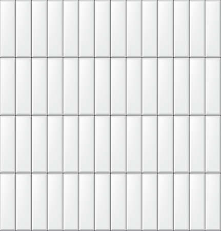 Seamless pattern with modern vertical rectangular white tiles. Realistic texture. Vector illustration.