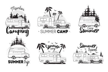 Set of camping trailer logo. camper vans against landscape background with lettering mountain, summer camp, trip. Black and white composition collection. Stock Illustratie