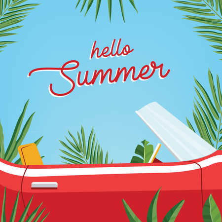 Hello summer poster. Trendy banner presenting summer season with classic retro car and palm leaves against blue sky. Colorful vector illustration.