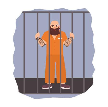 Kolorowa ilustracja przedstawiająca więźnia płci męskiej w aresztowaniu. Gniewny człowiek trzyma żelazną komórkę. Ilustracji wektorowych płask. Ilustracje wektorowe