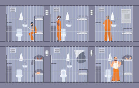 apprehended: Colorful illustration featuring prisoners behind the bars. People in orange uniform. escape get out through wall in cell. Prison inmates. Flat cartoon vector.