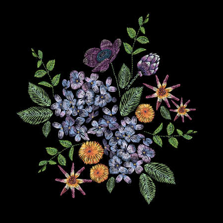 Embroidered composition with branch of lilac, flowers and leaves. Satin stitch embroidery floral design on black background. Folk line trendy pattern for clothes, dress, fabric, decor.