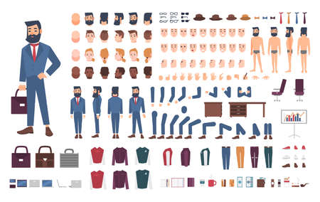 Businessman character constructor. Male clerk creation set. Different postures, hairstyle, face, legs, hands, accessories, clothes collection. cartoon illustration. Guy, front, side, back view. Иллюстрация