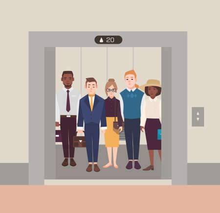 Colorful image illustrating group of people standing in open elevator. Men and women wearing business suit in classical cloth. Flat cartoon vector illustration