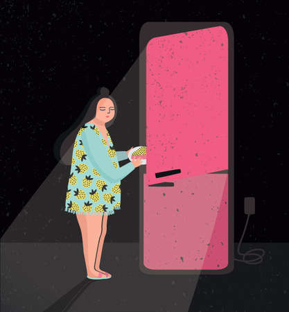 Colorful illustration featuring late night fridge raid. Sleepy woman is taking out pie from refrigerator. Eating at night. Cartoon vector illustration. Illustration