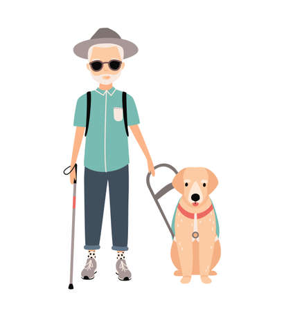 Blind man. Colorful image featuring visually impaired elderly with guide dog on white background. Flat vector cartoon illustration.